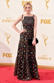 Laura Carmichael opted for a sweet-looking floral gown by Erdem for her Emmys red carpet look.