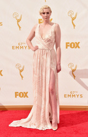 Turning to her favorite designer once again, Gwendoline Christie chose this flowing, subtly printed wrap gown for her Emmy Awards look.