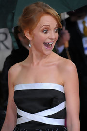 Jayma rocked the red carpet in these 1920's diamond and black onyx earrings , in platinum.