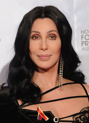 Cher glammed up her look with ultra-long dangling diamond earrings when she attended the Golden Globes.