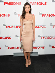 Emily Ratajkowski displayed her slim figure in a tight-fitting nude Marc Jacobs dress during the Parsons Fashion Benefit.