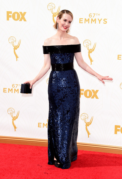 More Pics of Sarah Paulson Side Parted Straight Cut (3 of 18) - Sarah Paulson Lookbook - StyleBistro [red carpet,dress,clothing,carpet,shoulder,flooring,gown,fashion,joint,fashion model,arrivals,sarah paulson,microsoft theater,los angeles,california,primetime emmy awards]
