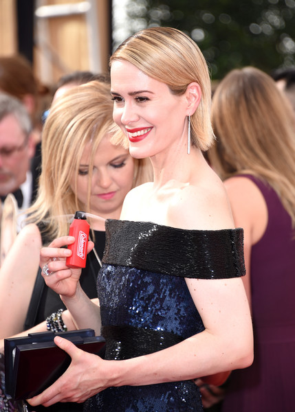 More Pics of Sarah Paulson Side Parted Straight Cut (2 of 18) - Sarah Paulson Lookbook - StyleBistro [hair,blond,shoulder,hairstyle,dress,product,beauty,lady,cocktail dress,lip,arrivals,sarah paulson,microsoft theater,los angeles,california,primetime emmy awards]