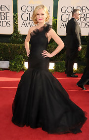 Julia put the glam in frou-frou with a black tulle evening gown with a dramatic train.