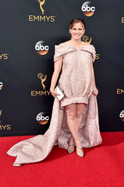 Anna Chlumsky caught plenty of stares with this baggy pink off-the-shoulder dress at the Emmy Awards.