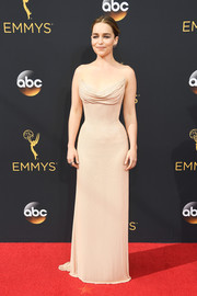 Emilia Clarke cut a shapely silhouette in this strapless nude corset gown by Atelier Versace during the Emmy Awards.