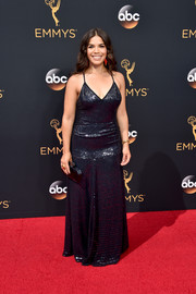 America Ferrera was all about '70s prom glamour in this spaghetti-strap sequin gown by Jenny Packham during the Emmys.