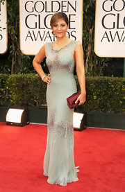 Callie Thorne wore a delicately beaded sage gown to the Golden Globes.