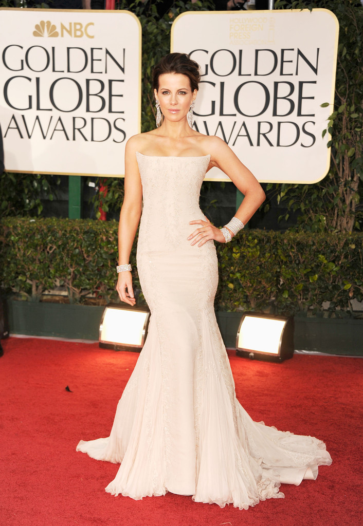 Actress Kate Beckinsale arrives at the 69th Annual Golden Globe Awards held at the Beverly Hilton Hotel on January 15, 2012 in Beverly Hills, California.