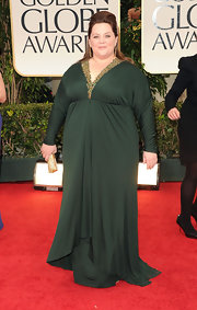Melissa McCarthy wore a lovely forest green evening dress with a beaded neckline for the Golden Globes.