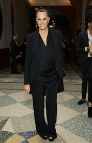 Donna Karan attended the Parsons Benefit wearing a loose black pantsuit.