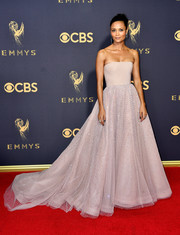 Thandie Newton looked princess-y in a strapless taupe Jason Wu gown with a crystal-dotted skirt at the 2017 Emmys.