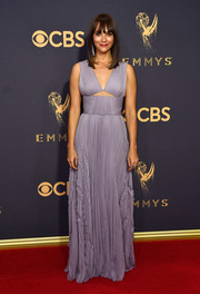 Rashida Jones chose a pleated lavender cutout gown by J. Mendel for her Emmys red carpet look.
