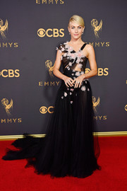 Julianne Hough struck the perfect balance between goth and sweet with this Marchesa cutout gown, in black tulle with pink floral appliques, at the 2017 Emmys.