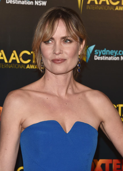 More Pics of Radha Mitchell Loose Bun (1 of 9) - Radha Mitchell Lookbook - StyleBistro [hair,hairstyle,premiere,dress,brown hair,long hair,electric blue,smile,arrivals,radha mitchell,avalon hollywood,los angeles,california,aacta international awards]