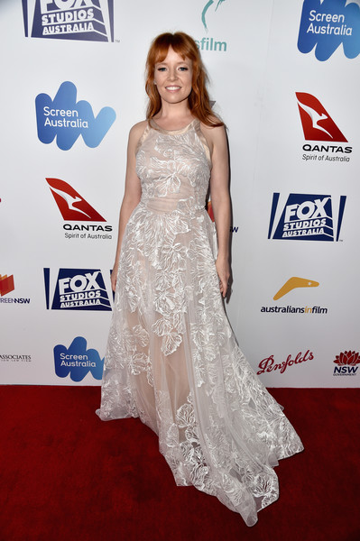 Stef Dawson donned a sheer, embroidered white gown with a nude underlay for the Australians in Film Award.