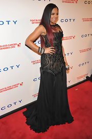 Ashanti put on the drama in this elaborate black gown at the DKMS Gala.