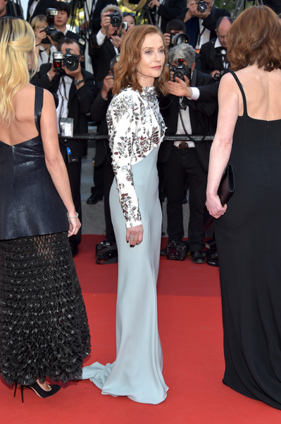 More Pics of Isabelle Huppert Medium Wavy Cut (6 of 12) - Isabelle Huppert Lookbook - StyleBistro [red carpet,dress,carpet,clothing,gown,flooring,premiere,event,shoulder,fashion,red carpet arrivals,isabelle huppert,cannes,france,cannes film festival,palais des festivals]