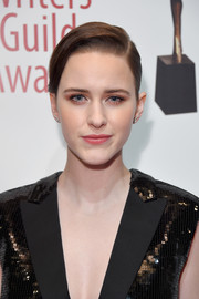 Rachel Brosnahan styled her hair into a side-parted chignon for the 2018 Writers Guild Awards.
