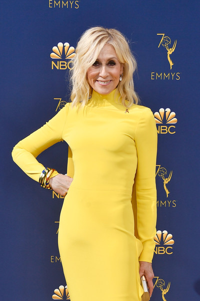 More Pics of Judith Light Form-Fitting Dress (1 of 2) - Judith Light Lookbook - StyleBistro [hair,yellow,clothing,dress,hairstyle,electric blue,blond,cocktail dress,long hair,carpet,arrivals,judith light,emmy awards,microsoft theater,los angeles,california]