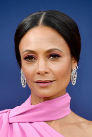 Thandie Newton went old school with this center-parted chignon at the 2018 Emmys.
