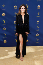 Keri Russell looked ultra sophisticated in a beaded and feathered peplum jacket by Zuhair Murad Couture at the 2018 Emmys.