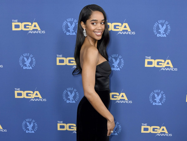 More Pics of Laura Harrier Strapless Dress (1 of 7) - Laura Harrier Lookbook - StyleBistro [clothing,dress,shoulder,carpet,electric blue,premiere,little black dress,cocktail dress,flooring,arrivals,laura harrier,directors guild of america awards,hollywood highland center,the ray dolby ballroom,california]