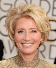 Emma Thompson glammed up her short hair with high-volume waves when she attended the Golden Globes.