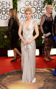 Kate Mara went for futuristic glamour in a silver J. Mendel evening dress during the Golden Globes.