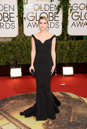 Emma Roberts was all about understated elegance in an off-the-shoulder black mermaid gown by Lanvin during the Golden Globes.
