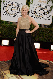Monica Potter was all dolled up in a stunning Romona Keveza gown, featuring a beaded bodice and a flowing skirt, during the Golden Globes.