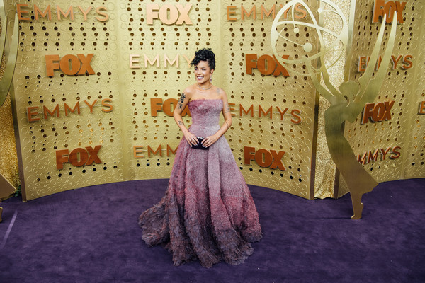 More Pics of Halsey Suede Clutch (1 of 11) - Clutches Lookbook - StyleBistro [image,dress,purple,fashion,room,haute couture,pattern,fashion design,arrivals,halsey,emmy awards,filters,los angeles,california,microsoft theater]