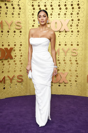 Nicole Scherzinger looked alluring in a strapless white column dress by Vivienne Westwood at the 2019 Emmy Awards.