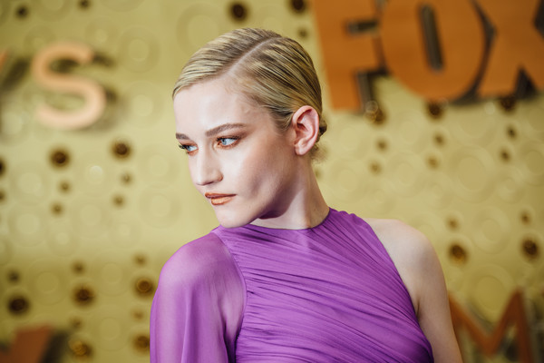 More Pics of Julia Garner Cutout Dress (1 of 17) - Julia Garner Lookbook - StyleBistro [image,hair,hairstyle,beauty,blond,purple,chin,shoulder,forehead,neck,photography,arrivals,julia garner,emmy awards,filters,los angeles,california,microsoft theater]
