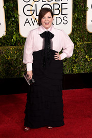 For her Golden Globes look, Melissa McCarthy channeled the Wild West in a black-and-white shirtdress of her own design.