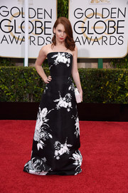 Shelby Steel was classic and feminine in a black-and-white floral strapless gown at the Golden Globes.