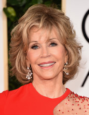 Jane Fonda styled her short locks with a flurry of waves for the Golden Globes.