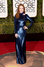 Julianne Moore went all out with the shimmer in a fully sequined Tom Ford gown for the Golden Globes.