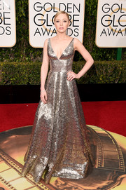 Portia Doubleday looked resplendent in a fully beaded silver gown by Naeem Khan at the Golden Globes.
