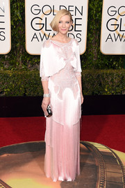 Cate Blanchett glammed it up '20s style in a fringed pink gown by Givenchy Haute Couture for the Golden Globes.