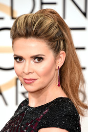 Carly Steel was punk-glam at the Golden Globes wearing this partially braided pompadour ponytail.