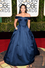 Gina Rodriguez channeled Scarlett O'Hara in this blue off-the-shoulder ball gown for her Golden Globes red carpet look.