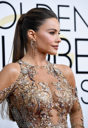 Sofia Vergara wore her hair in a sleek straight ponytail at the Golden Globes.