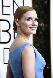 Jessica Chastain slicked her hair back into a braided bun for the Golden Globes.