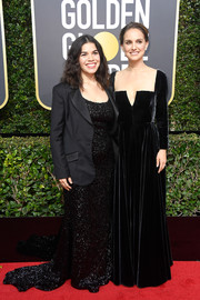 America Ferrera was all sparkly in a black sequin dress by Christian Siriano at the 2018 Golden Globes.