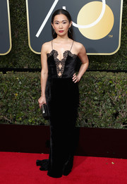 Hong Chau was boudoir-chic in a black velvet and lace slip dress by Stella McCartney at the 2018 Golden Globes.