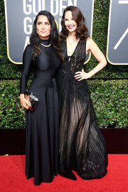 Salma Hayek's black Balenciaga gown at the 2018 Golden Globes had a sporty-glam feel to it.