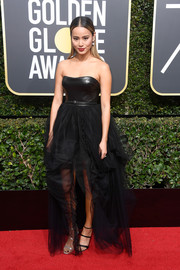 Jamie Chung was a goth beauty in an Ermanno Scervino strapless dress with a leather bodice and a tulle skirt at the 2018 Golden Globes.