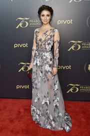 Shiri Appleby proved sheer could look classy with this Mikael D floral gown at the Peabody Awards.