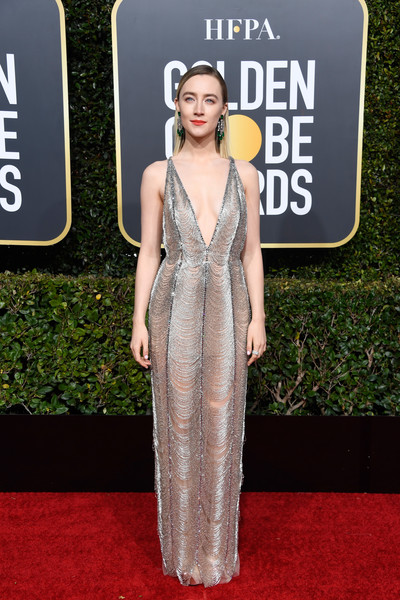 Saoirse Ronan dropped jaws in a beaded silver Gucci gown with a deep-V neckline at the 2019 Golden Globes.